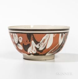 Mocha Creamware Slip-decorated Hemispherical Bowl